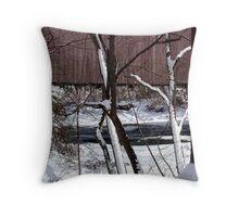 Jericho Covered Bridge Snow Scene Throw Pillow