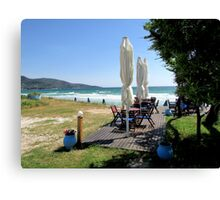 DINING BY THE SEA IN GREECE. 3 Canvas Print