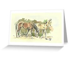 """""""Mare with a Foal"""" Greeting Card"""