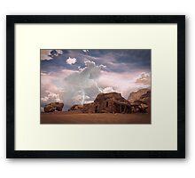 Southwest Desert Landscape Indian House and Lightning Framed Print