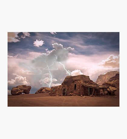 Southwest Desert Landscape Indian House and Lightning Photographic Print