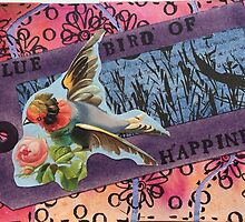 Blue Bird of Happiness Collage by thethreadshed
