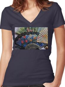 Fanciful Fans Women's Fitted V-Neck T-Shirt