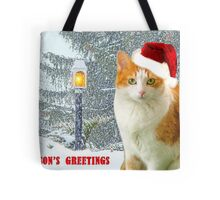 Bitty In A Christmas Snow Scene Tote Bag