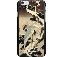 'Two Cranes on a Pine Covered with Snow' by Katsushika Hokusai (Reproduction) iPhone Case/Skin