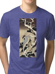 'Two Cranes on a Pine Covered with Snow' by Katsushika Hokusai (Reproduction) Tri-blend T-Shirt