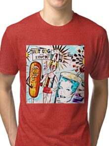 Hot Dog on a Stick! Tri-blend T-Shirt