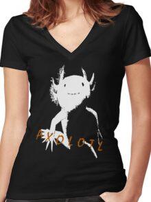 Axolotl (White) Women's Fitted V-Neck T-Shirt