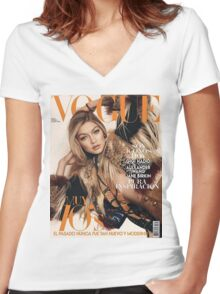 Gigi Hadid Vogue Cover Women's Fitted V-Neck T-Shirt