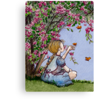 sitting with the butterflies Canvas Print