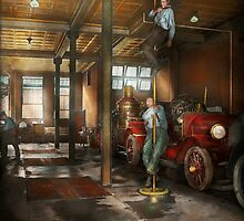 Firemen - Answering the firebell 1922 by Mike  Savad