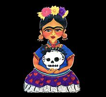 Cute Frida with Skull Color Pencil Illustration by Candace Byington by Candace Byington