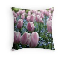 Pink Tulips at Queen Elizabeth Park Throw Pillow