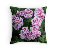 Wreath of Pink Geraniums Throw Pillow