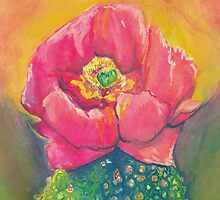 Pink Prickly Pear Cactus Bloom Watercolor by Candace Byington by Candace Byington