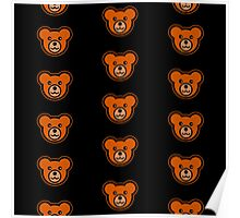 Teddy Bears on Black Background Poster