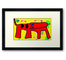 """Red Dog with Serpent's Tongue"" by Richard F. Yates Framed Print"
