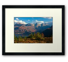 The Five Sisters of Kintail from Mam Ratagan,North West Scotland. Framed Print