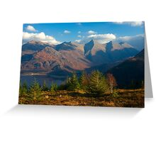 The Five Sisters of Kintail from Mam Ratagan,North West Scotland. Greeting Card