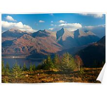 The Five Sisters of Kintail from Mam Ratagan,North West Scotland. Poster