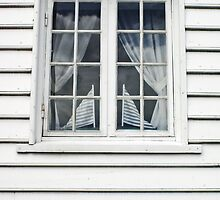 Norwegian window and flags by Christopher Barton