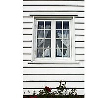Norwegian window and flags Photographic Print