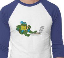 TMNT - Leonardo with Pizza Men's Baseball ¾ T-Shirt