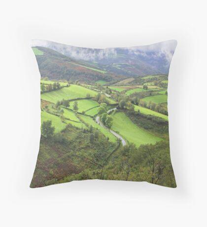 green hills of Galicia Throw Pillow