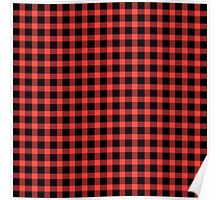 Red and Black Buffalo Check Pattern Poster