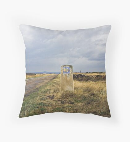 old pilgrim's trail marker beneath stormy clouds Throw Pillow