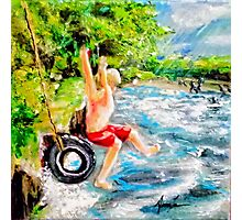 First Jump: Acrylic palette knife painting Photographic Print