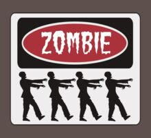 ZOMBIES WALKING IN A LINE, FUNNY DANGER STYLE FAKE SAFETY SIGN Kids Clothes