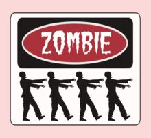 ZOMBIES WALKING IN A LINE, FUNNY DANGER STYLE FAKE SAFETY SIGN Kids Tee