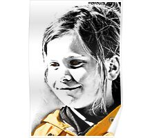 Young Girl in Yellow Raincoat with a Sunny Smile! Poster