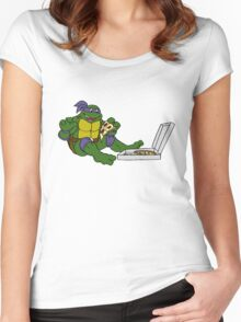 TMNT - Donatello with Pizza Women's Fitted Scoop T-Shirt
