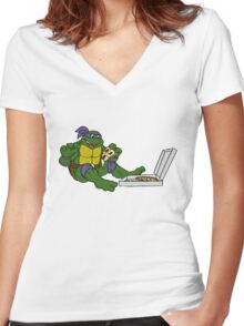 TMNT - Donatello with Pizza Women's Fitted V-Neck T-Shirt