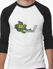 TMNT - Donatello with Pizza Men's Baseball ¾ T-Shirt