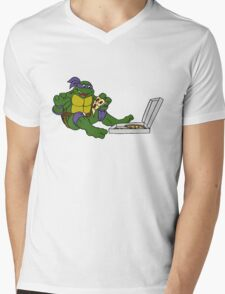 TMNT - Donatello with Pizza Mens V-Neck T-Shirt