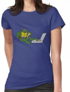TMNT - Donatello with Pizza Womens Fitted T-Shirt