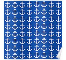 Deep Ocean Blue with White Anchors Poster