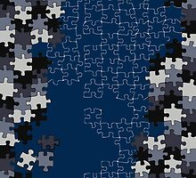 Jigsaw puzzle pieces BLUE by redblamer