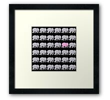 Grey Elephants with One Pink One Framed Print