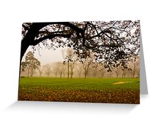 Fawkner Park on a misty morning Greeting Card