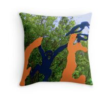 zoo sculpture monkey bird design art Throw Pillow