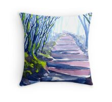 Misty Path Through the Woods Throw Pillow