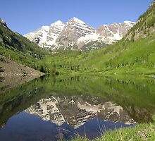 Snow Capped Maroon Bells Peak Reflections by Bob Spath