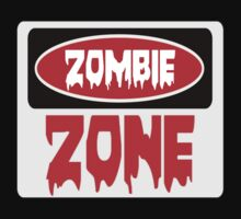 ZOMBIE ZONE, FUNNY DANGER STYLE FAKE SAFETY SIGN One Piece - Short Sleeve