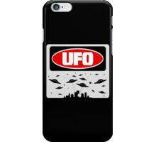 UFO, FUNNY DANGER STYLE FAKE SAFETY SIGN iPhone Case/Skin