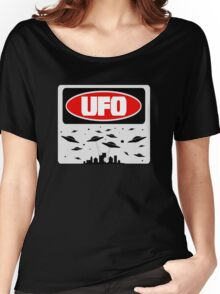 UFO, FUNNY DANGER STYLE FAKE SAFETY SIGN Women's Relaxed Fit T-Shirt