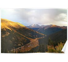 Independence Pass Sunset over Valley Poster